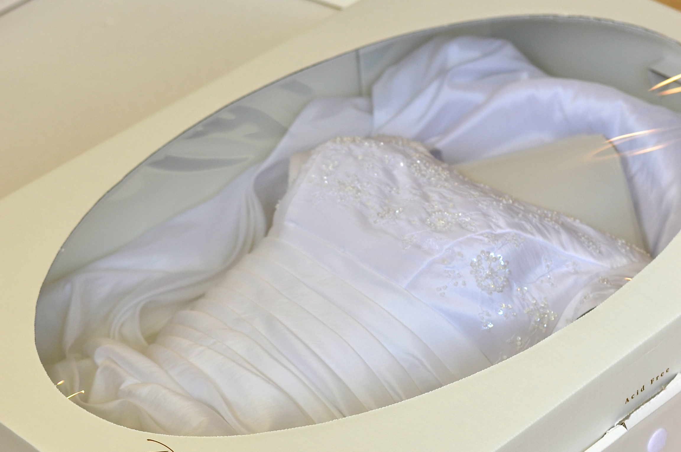 pressing a wedding dress